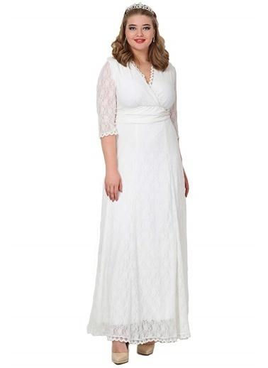 Angelino Butik Komple Güpür Büyük Beden Uzun Elbise KL26001 Beyaz